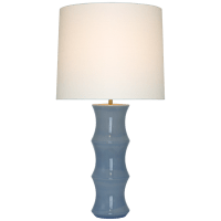 Marella Large Table Lamp in Polar Blue Crackle with Linen Shade