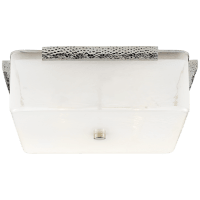 Mezan Large Flush Mount in Polished Nickel with White Strie Glass