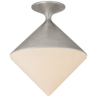 Sarnen Small Flush Mount in Burnished Silver Leaf with White Glass