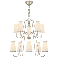 Montreuil Chandelier in Burnished Silver Leaf with Linen Shades