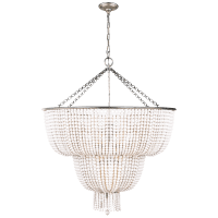 Jacqueline Two-Tier Chandelier in Burnished Silver Leaf with White Acrylic