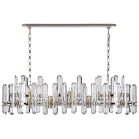 Bonnington Large Linear Chandelier in Polished Nickel with Crystal