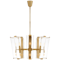 Alpine Medium Chandelier in Hand-Rubbed Antique Brass with Clear Glass