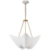 Cosima Medium Chandelier in Hand-Rubbed Antique Brass with Plaster White Shade