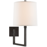 Aspect Large Articulating Sconce in Bronze with Ivory Linen Shade