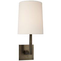 Ojai Medium Single Sconce in Bronze with Linen Shade