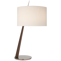 Stylus Large Angled Table Lamp in Dark Walnut and Polished Nickel with Linen Shade