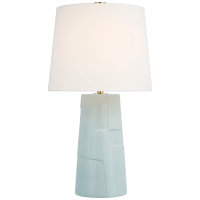 Braque Medium Debossed Table Lamp in Ice Blue Porcelain with Linen Shade