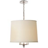 Westport Large Hanging Shade in Soft Silver with Linen Shade
