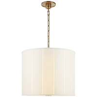 Perfect Pleat Hanging Shade in Soft Brass with Silk Shade