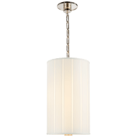 Perfect Pleat Tall Hanging Shade in Soft Silver with Silk Pleated Shade