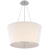 Hoop Medium Inverted Hanging Shade in Soft Silver with Linen Shade