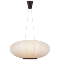 Paper Moon Large Hanging Shade in Bronze with Rice Paper Shade