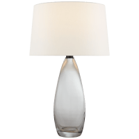 Myla Large Tall Table Lamp in Clear Glass with Linen Shade
