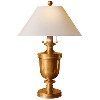 Classical Urn Form Medium Table Lamp in Antique-Burnished Brass with Natural Paper Shade