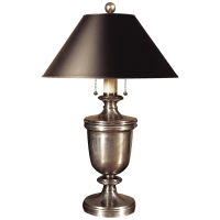 Classical Urn Form Medium Table Lamp in Antique Nickel with Black Shade