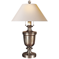 Classical Urn Form Medium Table Lamp in Antique Nickel with Natural Paper Shade