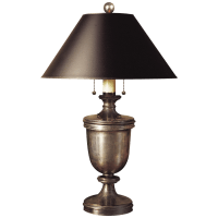 Classical Urn Form Medium Table Lamp in Sheffield Nickel with Black Shade