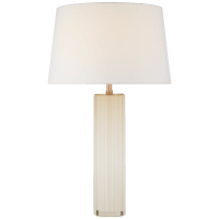 Fallon Large Table Lamp in White Glass with Linen Shade