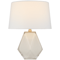 Gemma Small Table Lamp in White Glass with Linen Shade