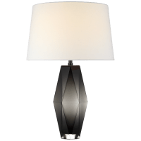 Palacios Large Table Lamp in Smoked Glass with Linen Shade