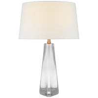 Teagan Medium Table Lamp in Clear Glass with Linen Shade