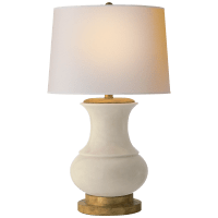 Deauville Table Lamp in Tea Stain Porcelain with Natural Paper Shade