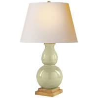 Gourd Form Small Table Lamp in Celadon Crackle with Natural Paper Shade