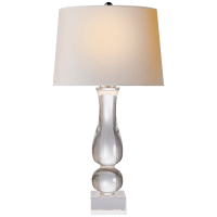 Contemporary Balustrade Table Lamp in Crystal with Natural Paper Shade