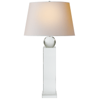 Geometric Tall Table Lamp in Crystal with Natural Paper Shade