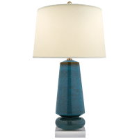 Parisienne Medium Table Lamp in Oslo Blue with Natural Percale Shade