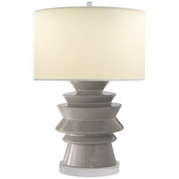 Stacked Disk Table Lamp in Shellish Gray with Natural Percale Shade