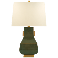 Kang Jug Large Table Lamp in Oslo Green and Burnt Gold Accent with Natural Percale Shade