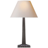 Strie Fluted Column Table Lamp in Aged Iron with Natural Paper Shade