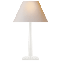 Strie Fluted Column Table Lamp in Plaster White with Natural Paper Shade