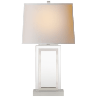 Crystal Panel Table Lamp in Polished Nickel with Natural Paper Shade