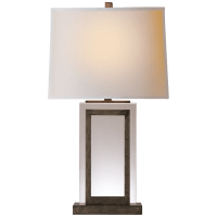 Crystal Panel Table Lamp in Sheffield Nickel with Natural Paper Shade