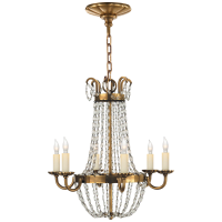 Petite Paris Flea Market Chandelier in Antique-Burnished Brass and Seeded Glass