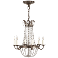 Petite Paris Flea Market Chandelier in Sheffield Silver and Seeded Glass