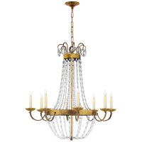 Paris Flea Market Large Chandelier in Gilded Iron with Seeded Glass