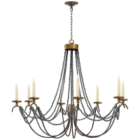 Marigot Large Chandelier in Rust and Antique-Burnished Brass with Tudor Brown Beaded Trim