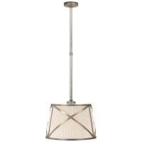 Grosvenor Single Hanging Shade in Antique Nickel with Linen Shade