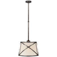 Grosvenor Single Hanging Shade in Bronze with Linen Shade