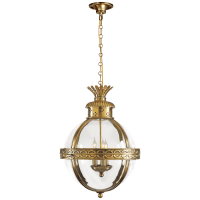 Crown Top Banded Globe Lantern in Antique-Burnished Brass with Clear Glass