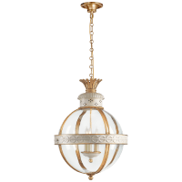 Crown Top Banded Globe Lantern in Antique White with Clear Glass