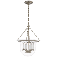 Country Medium Bell Jar Lantern in Polished Nickel