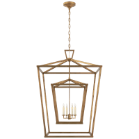 Darlana Extra Large Double Cage Lantern in Gilded Iron