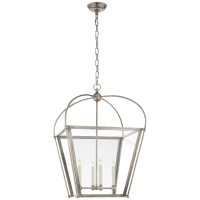 Riverside Medium Square Lantern in Antique Nickel with Clear Glass