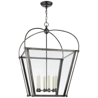 Riverside Large Square Lantern in Bronze with Clear Glass