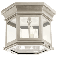 Club Small Hexagonal Flush Mount in Antique Nickel with Clear Glass